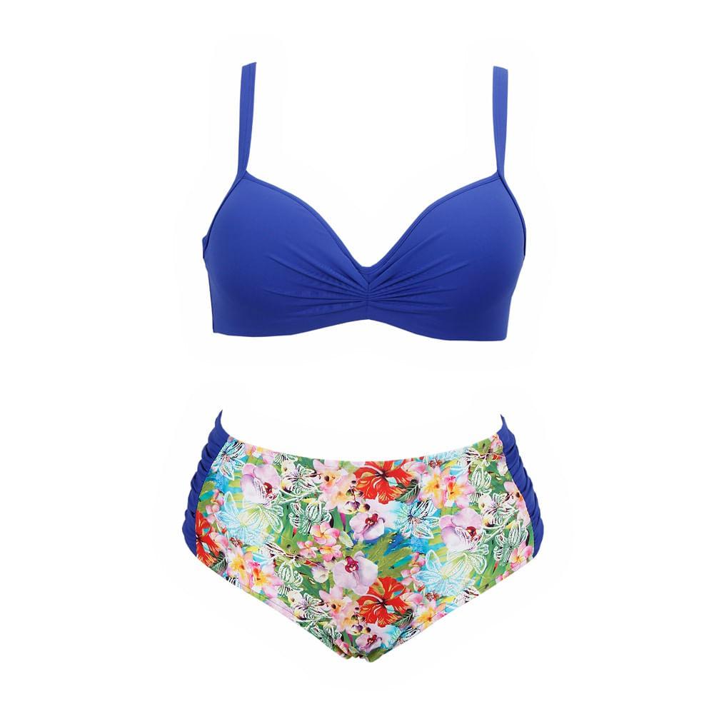 29bd46aa5 Biquíni Plus Size Com Bojo Flor Tropical Azul - dechelles