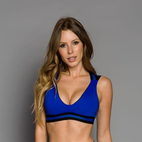 Top Alças Largas Elástico Personalizado Azul
